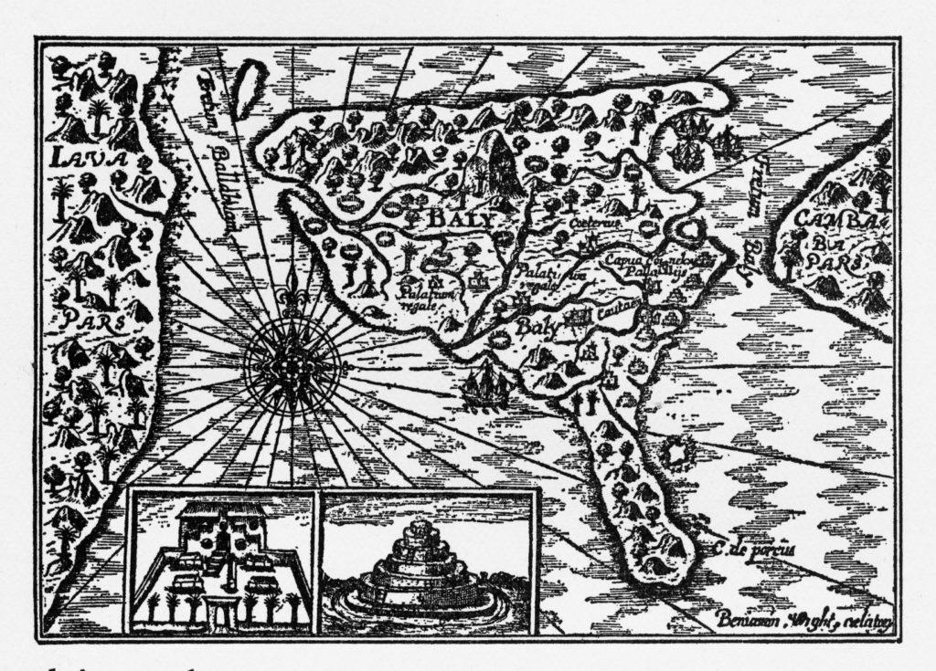 Historische Karte von Bali Holländische Invasion Bali Indonesien